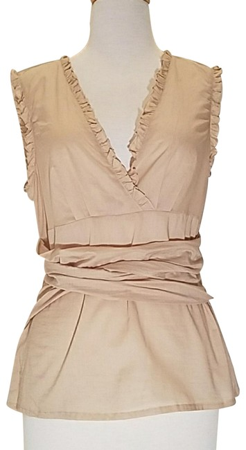 Preload https://item4.tradesy.com/images/bcbgmaxazria-sand-voile-wrap-blouse-size-8-m-23332833-0-10.jpg?width=400&height=650