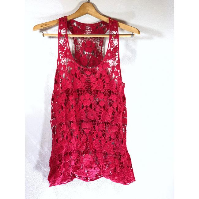 Boutique Beach Boho Festival Swim Crochet Top Red