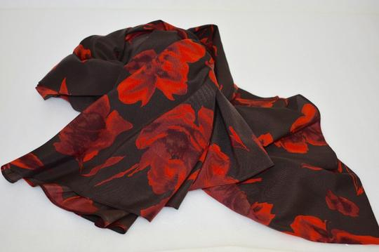 Donna Karan Donna Karan Designer 100% Silk Brown/Red Floral Shawl/Wrap eb