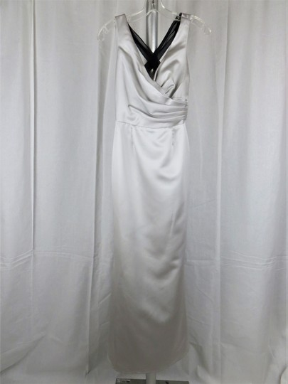 White by Vera Wang Grey / Silver with Black Tie 100 Percent Polyester Formal Bridesmaid/Mob Dress Size 6 (S)