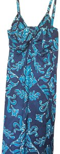 indigo blue Maxi Dress by Tommy Bahama Removable Straps Strapless Built In Bra