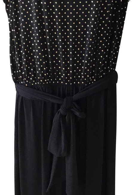 Item - Black with Gold Mini Studs Studded Belted Jumpsuit -tone Pants Size 16 (XL, Plus 0x)