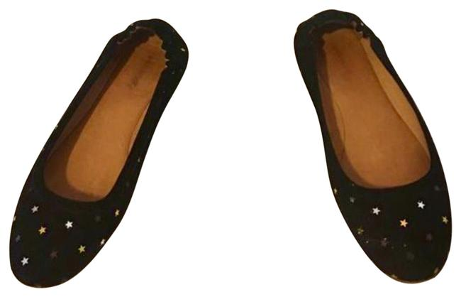 Item - Black with Silver and Gold Stars Flats Size EU 39 (Approx. US 9) Regular (M, B)