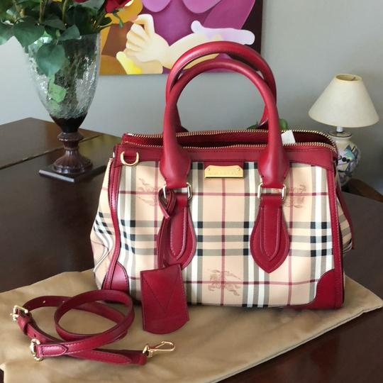 Burberry Satchel in Tan with British red leather trim