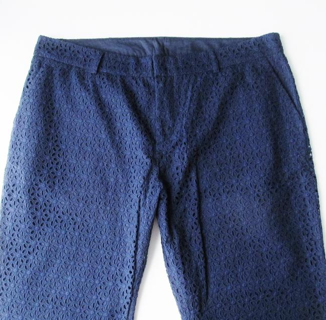 Garnet Hill New Without Tags Pants Eyelet Lace Crops Capris Blue
