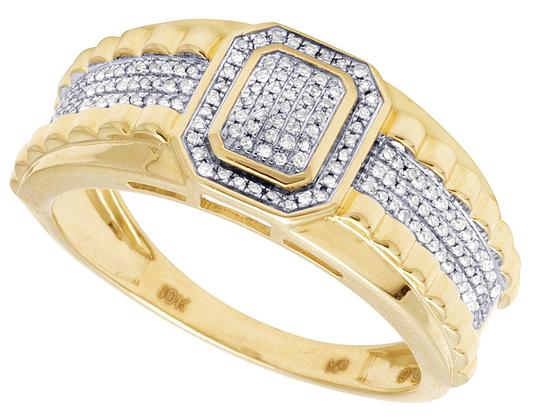 Jewelry Unlimited 10K Yellow Gold Genuine Diamond Pinky Ring 1/4Ct 10mm