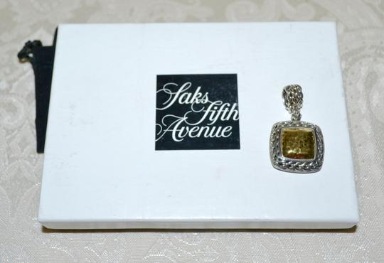 John Hardy JOHN HARDY PALU Square Hammered Gold Sterling Silver Pendant