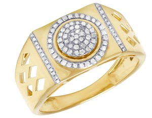 Jewelry Unlimited 10K Yellow Gold Genuine Diamond Pinky Ring 0.26Ct 12mm