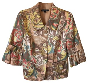 Lafayette 148 New York floral pattern made up of light and dark taupe, green, yellow, coral and peach Blazer