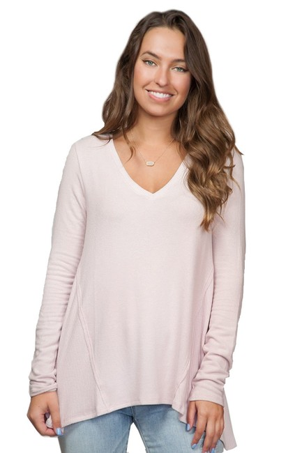 Michael Stars Madison V-neck Sweet Pea Pink Sweater Michael Stars Madison V-neck Sweet Pea Pink Sweater Image 1