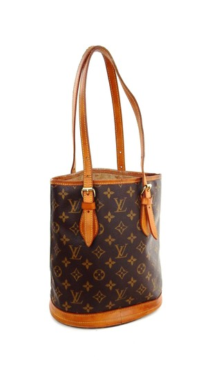 Preload https://item4.tradesy.com/images/louis-vuitton-bucket-pm-vintage-brown-monogram-canvas-leather-shoulder-bag-23333288-0-0.jpg?width=440&height=440