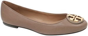 Tory Burch Tb Logo Leather French Gray Flats