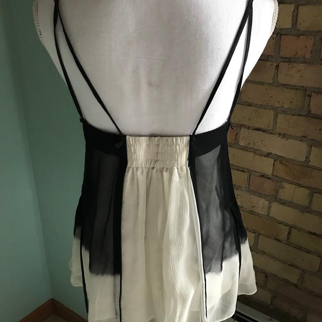 L.A.M.B. Top black and ivory silk