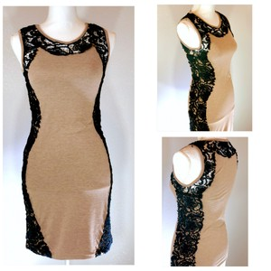 Preload https://item4.tradesy.com/images/torn-by-ronny-kobo-chocolate-brown-black-sleeveless-lace-panels-cotton-fitted-mini-short-night-out-d-23333473-0-0.jpg?width=400&height=650