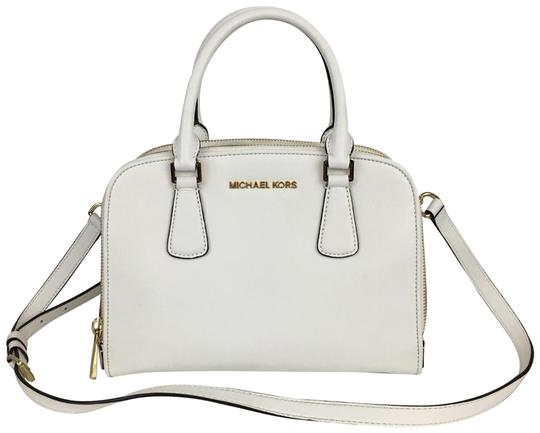 Preload https://item5.tradesy.com/images/michael-michael-kors-saffiano-small-double-zipper-shoulder-white-leather-satchel-23333474-0-1.jpg?width=440&height=440