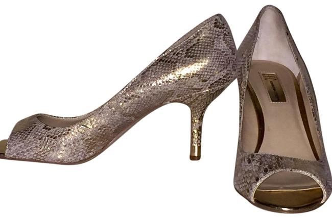 INC International Concepts Metallic Gold Snakeskin Beige Kitten Heels Pumps Size US 9 Regular (M, B) INC International Concepts Metallic Gold Snakeskin Beige Kitten Heels Pumps Size US 9 Regular (M, B) Image 1