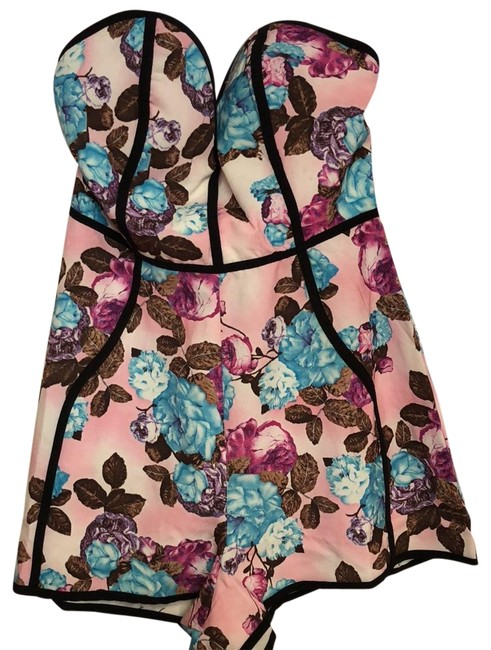 Preload https://item2.tradesy.com/images/angel-biba-floral-pattern-with-black-piping-along-sides-cocktail-aw1357-6-short-romperjumpsuit-size--23333561-0-1.jpg?width=400&height=650