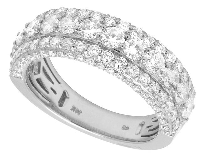 Jewelry Unlimited 14k White Gold Three Row Diamond Band 3.5ct 8mm Ring Jewelry Unlimited 14k White Gold Three Row Diamond Band 3.5ct 8mm Ring Image 1