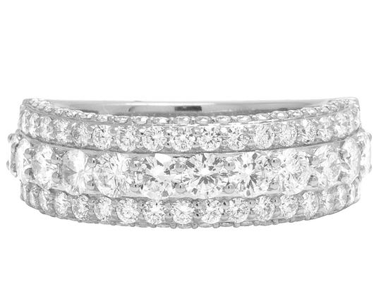 Jewelry Unlimited 14K White Gold Three Row Diamond Band Ring 3.5Ct 8mm