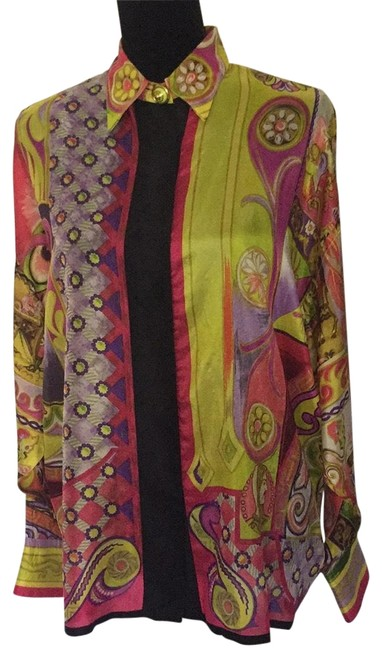 Preload https://img-static.tradesy.com/item/23333613/versace-brilliant-silk-multi-color-vintage-blouse-size-10-m-0-1-650-650.jpg