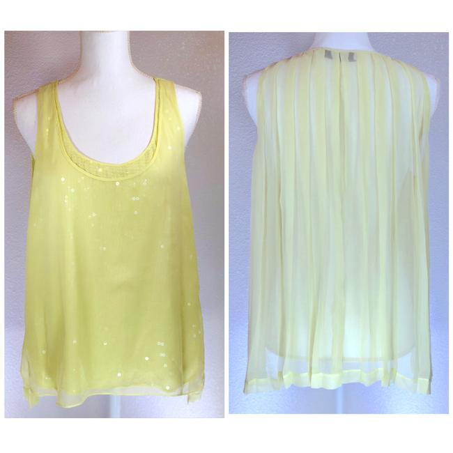 Robert Rodriguez Pleated Sheer Sequin Beach Festival Top Yellow