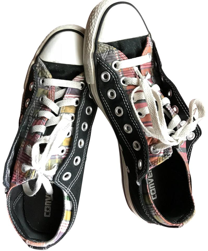 284c4203c980 Converse Black and Plaid Mix Chuck Taylor Double Tongue Ox Sneakers Sneakers