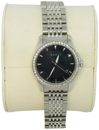 Preload https://item4.tradesy.com/images/gucci-white-070ct-diamond-g-timless-all-ss-black-dial-women-s-1265-watch-23333688-0-2.jpg?width=440&height=440