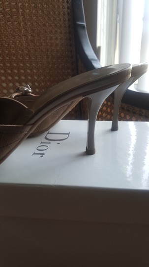 Dior Vintage Canvas Leather Logo Beige Mules