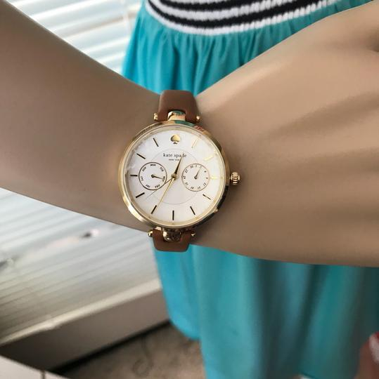 Kate Spade Brand New gold-tone and luggage leather holland watch KSW1399