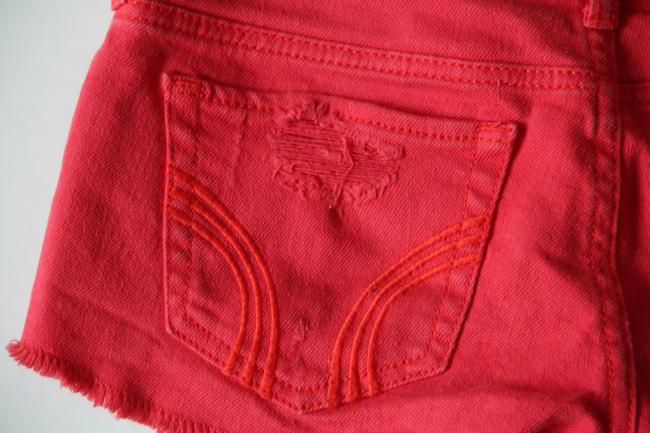 Hollister Frayed Destroyed Cut Off Shorts Red