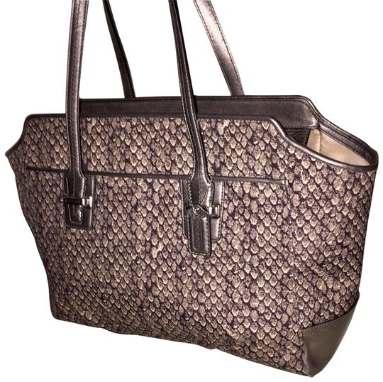 Preload https://item5.tradesy.com/images/coach-taylor-snake-alexis-carryall-gunmetal-snakeprint-nylon-and-leather-satchel-23333759-0-2.jpg?width=440&height=440