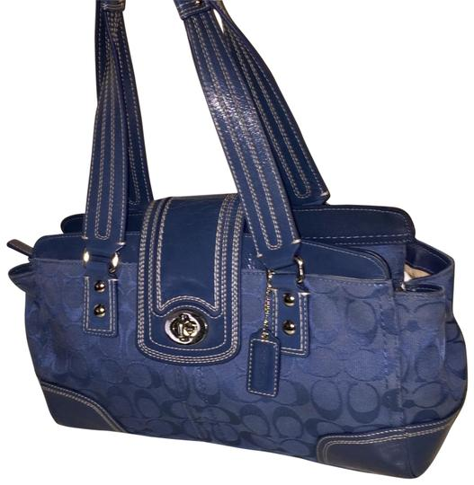 Preload https://item5.tradesy.com/images/coach-hampton-jacquard-ocean-blue-canvas-and-patent-leather-satchel-23333779-0-2.jpg?width=440&height=440