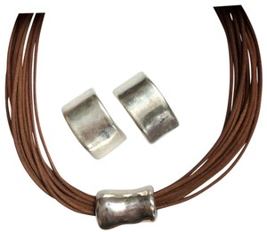 Silpada Silver & Leather Necklace/Earring Set