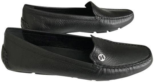 Preload https://item1.tradesy.com/images/gucci-black-silver-women-s-loafer-driving-moccasin-leather-flats-size-eu-395-approx-us-95-regular-m--23333870-0-1.jpg?width=440&height=440