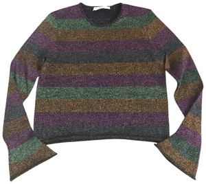 Zara Knit Metallic Striped Top purple orange green