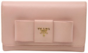 Prada Saffiano Leather Bow Logo Plate Light Pink Leather Bifold Continental