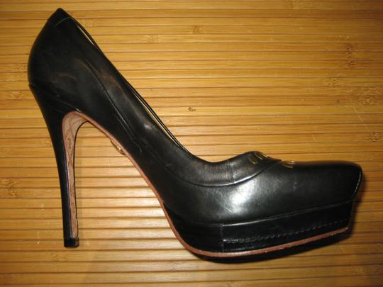 L.A.M.B. Stiletto Square Toe Leather Gold Hardware Black Pumps
