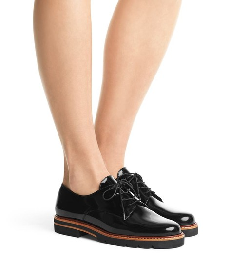 Stuart Weitzman Oxford Derby Leather Black Flats