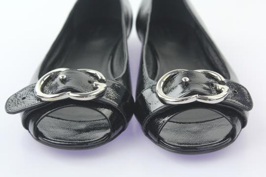 Gucci Gg Belted Open Toe Silver Hardware Stacked Black Flats