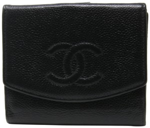 Chanel Signature Caviar Leather CC Monogram Dual Bi-fold Wallet