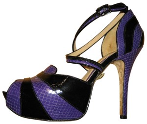 L.A.M.B. Snakeskin Patent Leather Stiletto Strappy Peep Toe Purple and Black Pumps - item med img