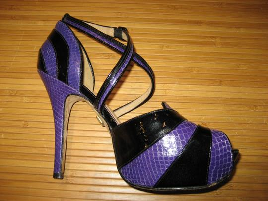 L.A.M.B. Snakeskin Patent Leather Stiletto Strappy Peep Toe Purple and Black Pumps