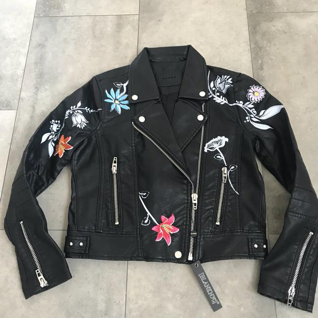 BlankNYC Faux Leather Embroidered Moto Motorcycle Jacket