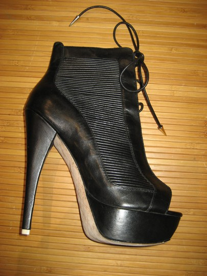 L.A.M.B. Leather Lace Up Platform Peep Toe Stiletto Black Boots