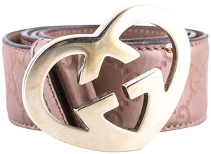 Gucci Gucci Belt Heart Shaped GG Buckle Metallic Rose