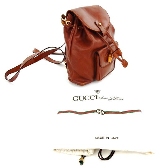 Gucci Leather Bamboo Italy Backpack