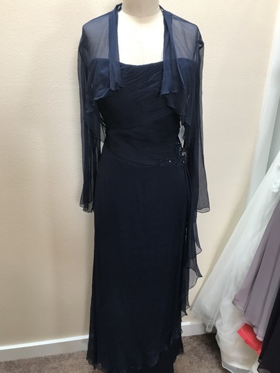 Montage by Mon Cheri Navy Blue Chiffon 110928 Feminine Bridesmaid/Mob Dress Size 16 (XL, Plus 0x)