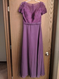 Eggplant Lace and Chiffon Style 124 Formal Bridesmaid/Mob Dress Size 4 (S)