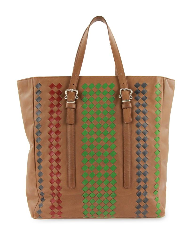 6e1e57207b9b Bottega Veneta Intrecciato Woven Vertical Brown Leather Tote - Tradesy