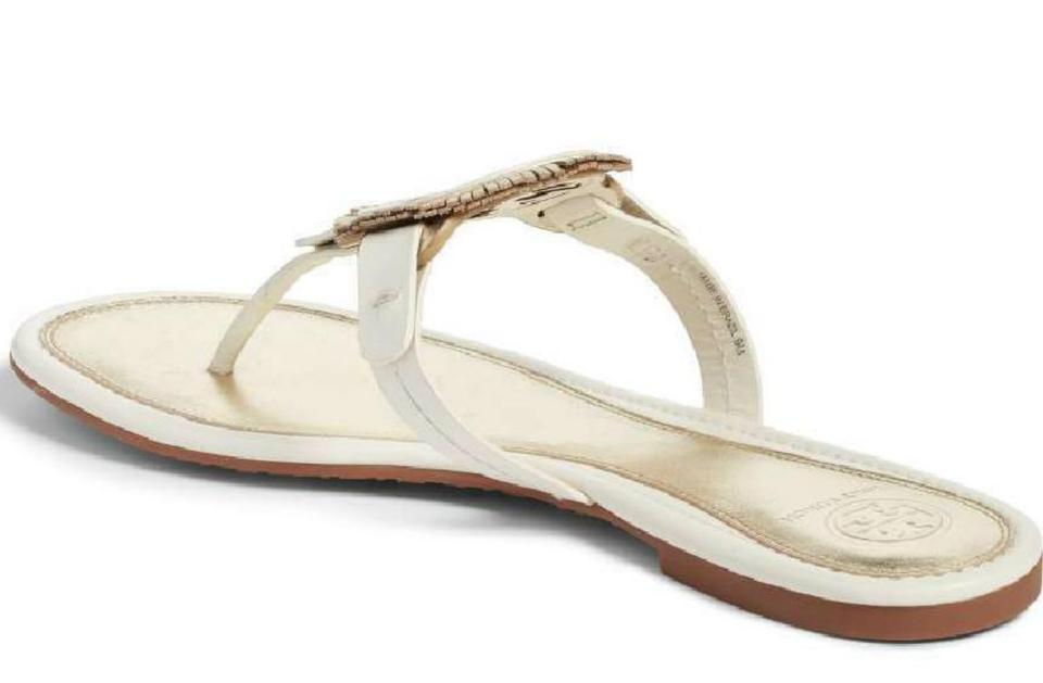 8d672a40725 Tory Burch Bleach and Spark Gold Miller Fringe Leather Sandals Size ...